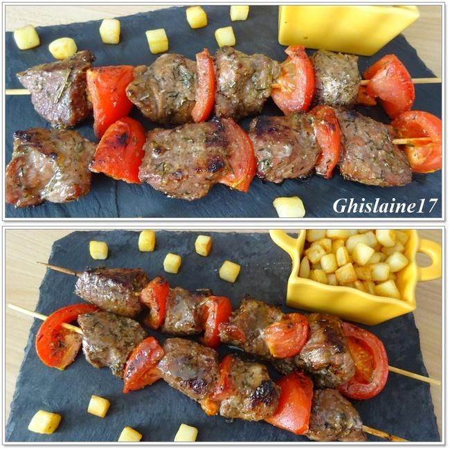 Brochettes de porc et tomates marinées et au barbecue