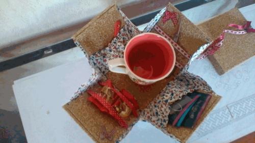 Atelier cartonnage du 28 mars 2017 : petite boîte pour tasse à thé portable