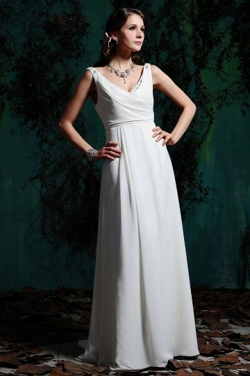 Simple robe mariée à taille Empire