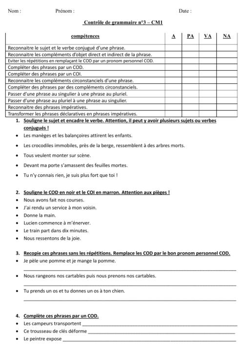 français : contrôle- évaluation de grammaire - CM1 - période 3