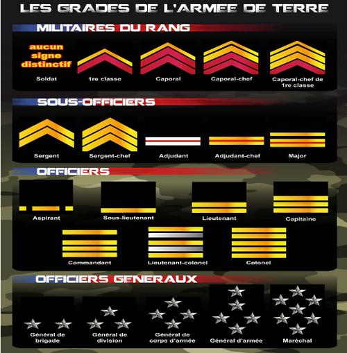 Les Grades de l'Armée de Terre de France