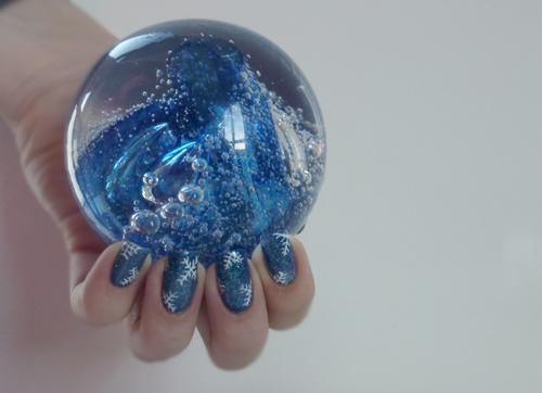 Nail Art glacial et flocons tous mignons