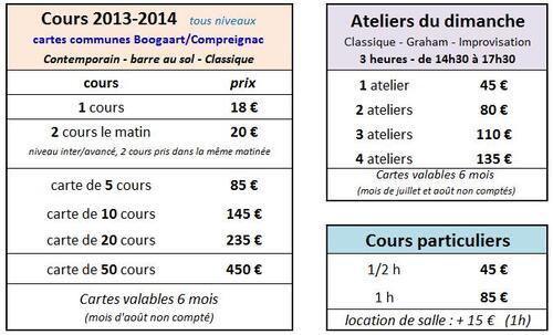 Tarifs des cours ouverts a Paris - price for open classes in Paris