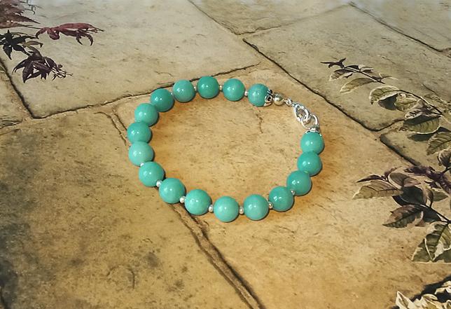 Bracelet Pierre d'Amazonite 17 perles 8 mm / Plaqué Argent