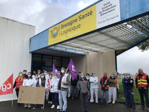 Un nouveau rassemblement a eu lieu ce jeudi 29octobre, devant la cuisine centrale de l'hôpital de Quimperlé.
