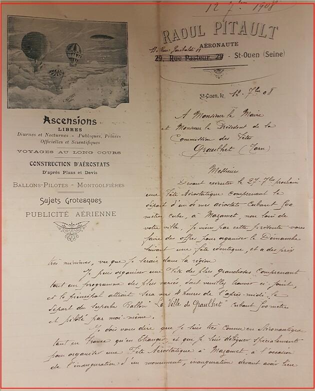 - 19 juillet 1908 : Inauguration de  l'Hotel de Ville et du kiosque