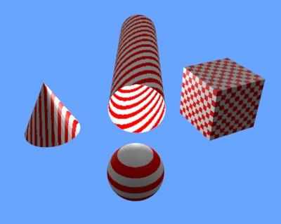 Texture en damier avec différents réglages sur différents objets
