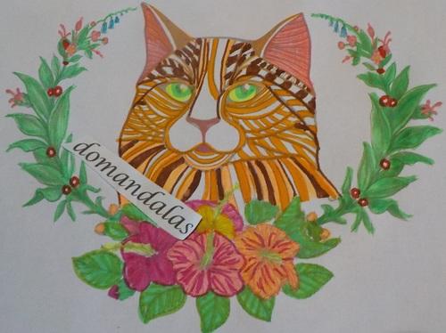 DOMANDALAS  coloriage d'un chat parmi les fleurs