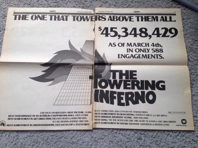 TOWERING INFERNO BOX OFFICE USA 1974