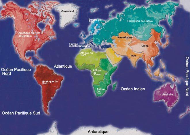 Emplacement des continents aujourd'hui