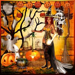 Halloween la fête des citrouilles horloge code inclu