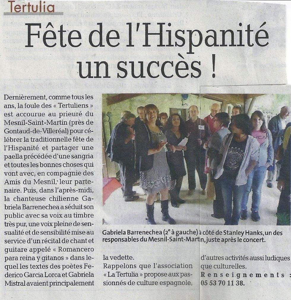 Fête de l'Hispanité dans la presse