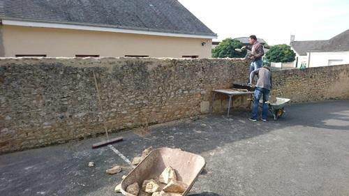 travaux maçonnerie terminés côté école
