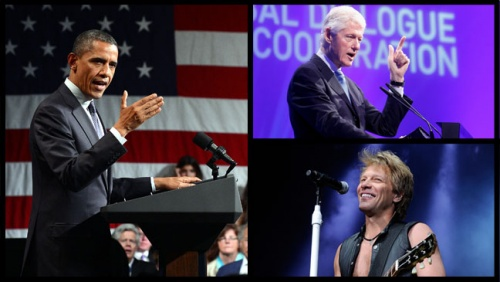 jon bon jovi avec le president obama at Three New York Fundraisers