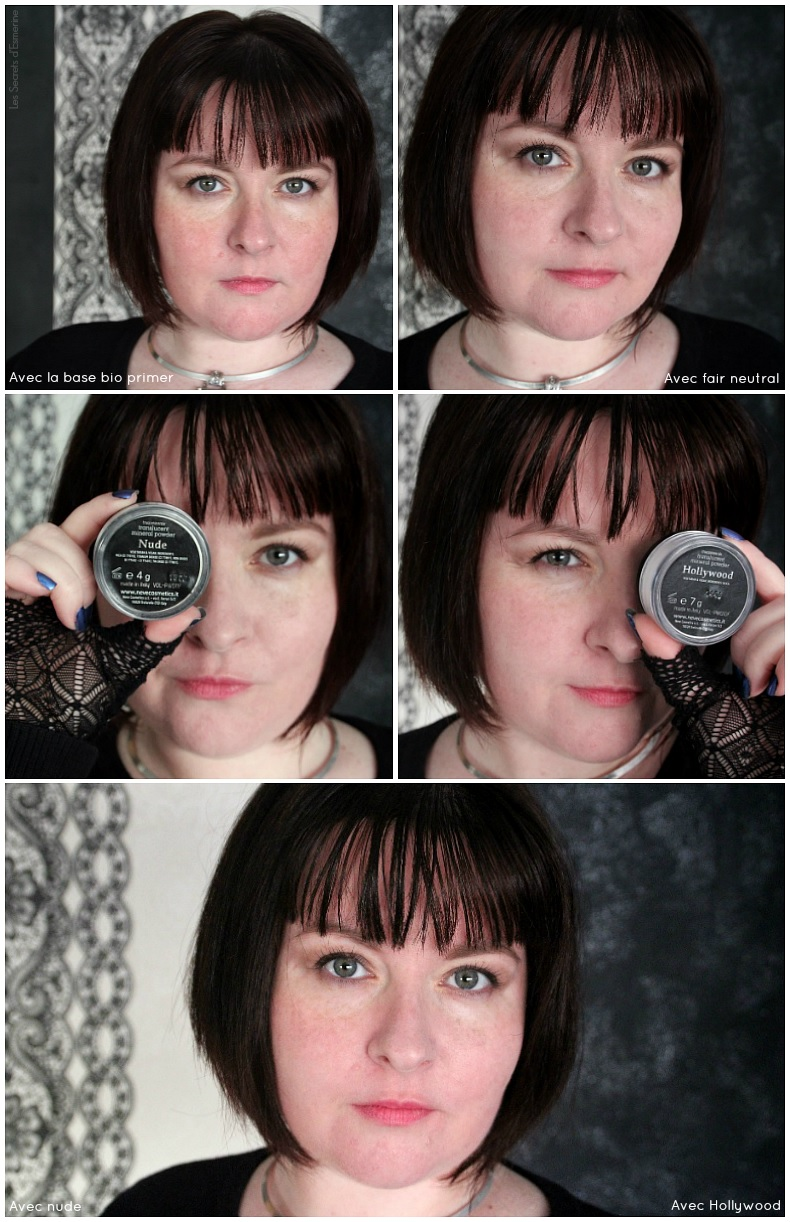 Maquillage minéral : avis fond de teint Fair Neutral + poudres Nude et Hollywood de Neve Cosmetics
