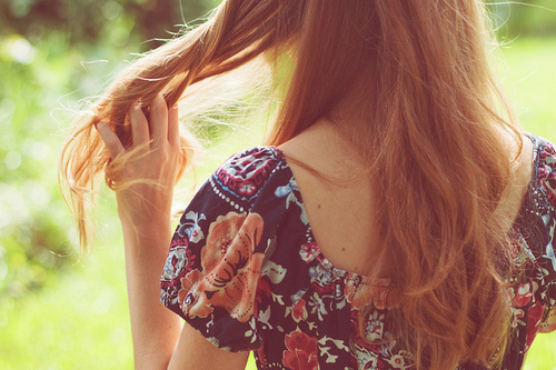 brush, floral, girl, hair, red, touch