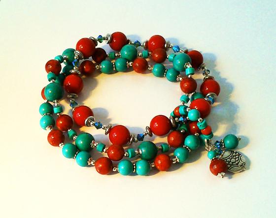 Bracelet Homme Elastique 3 rangs Corail rouge et Pierre de Turquoise naturelle / Métal argenté et Plaqué argent