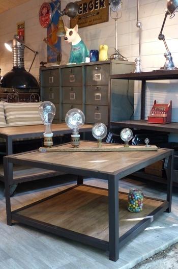 Mobilier Industriel O'range Metalic Table basse bois et acier1