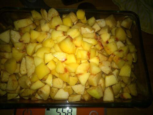 Un petit crumble pomme pêche pour le dessert d'hier soir