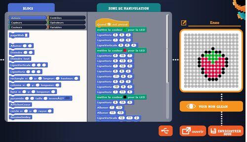 L'application GleamCode pour apprendre à programmer et faire du Pixel Art