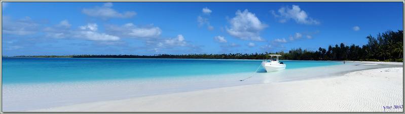 Le lagon bleu du Motu Tehaetea : vue panoramique - Atoll de Fakarava - Tuamotu - Polynésie française