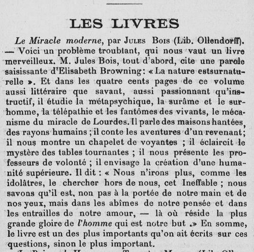 Jules Bois, Le miracle moderne (1907)(Le Penseur juillet 1907)