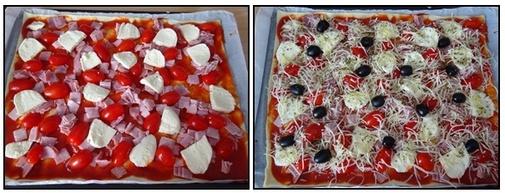 Pizza jambon, tomate, mozzarella