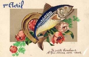 Carte postale ancienne pour le 1er avril : Je porte bonheur À qui donne son coeur