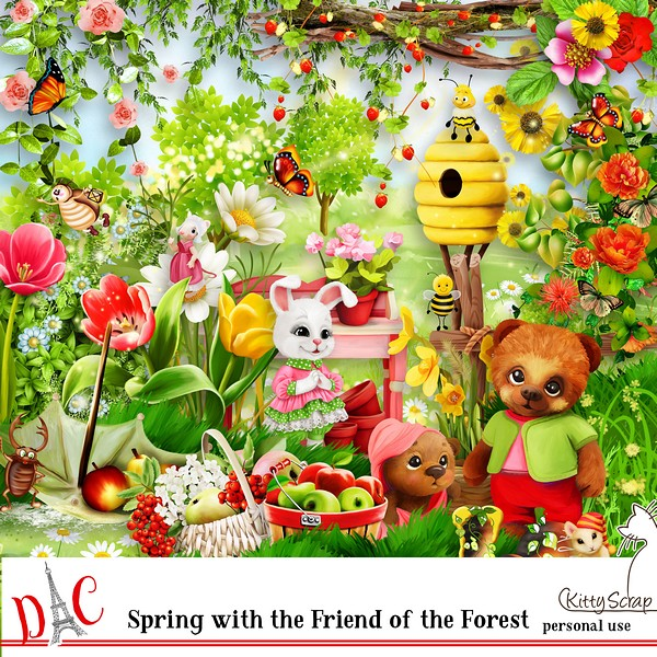 kit spring with the friends of the forest de kittyscrap