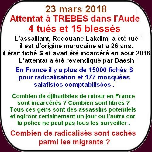 Attentat islamiste dans l'Aude et racisme anti blanc à Paris 8.