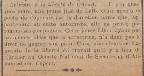 Une Antoiniste à Dinant (Le Bruxellois, 28 octobre 1915)
