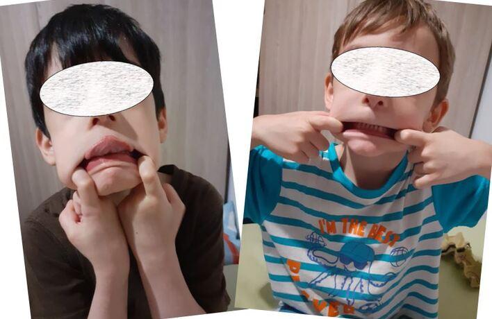 Les grimaces de Kylian et Lucas pour faire rire les copains !