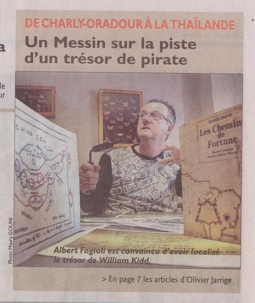"""Le Républicain Lorrain, """" De Charly-Oradour à la Thaïlande """" Albert Fagioli et le trésor du pirate écossais. (Olivier Jarrige)"""