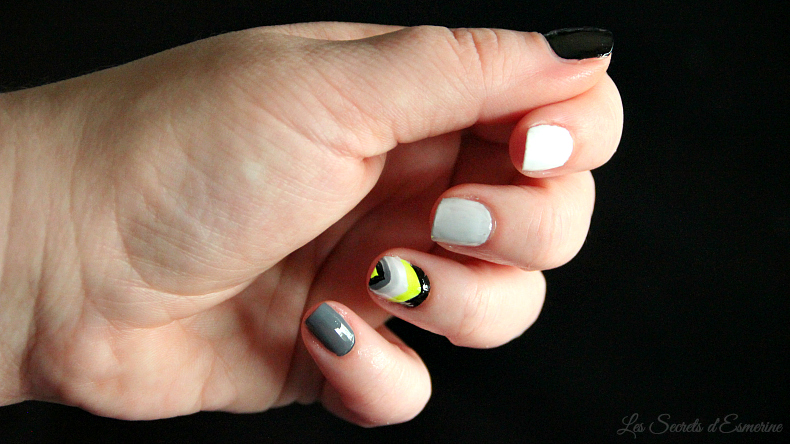 Du néon et des nuances de gris... Nail art facile !