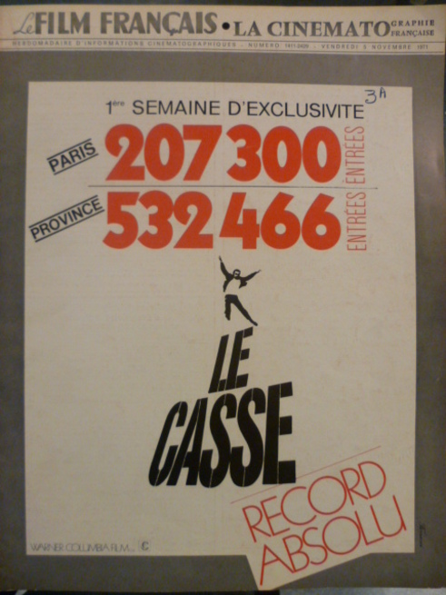 LE CASSE - JEAN PAUL BELMONDO RECORD BOX OFFICE 1971