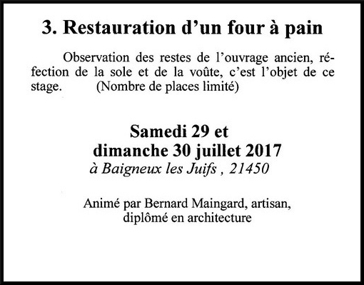 "Les stages de l'association ""Villages Anciens, Villages d'Avenir"" pour 2017"