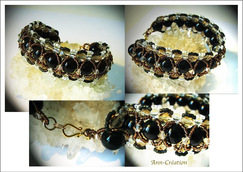 Bracelet tissé Perles de verre Noir, Cristal de Swarovski / Vermeil