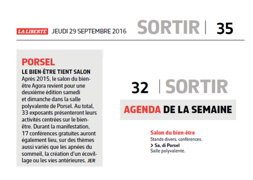 Salon bien-être Porsel 2016 - Presse