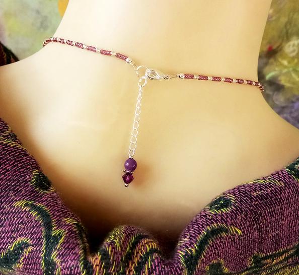 Collier pendentif grappe pierre mauve de Purpurite et jade, cristal de Swarovski / Plaqué argent