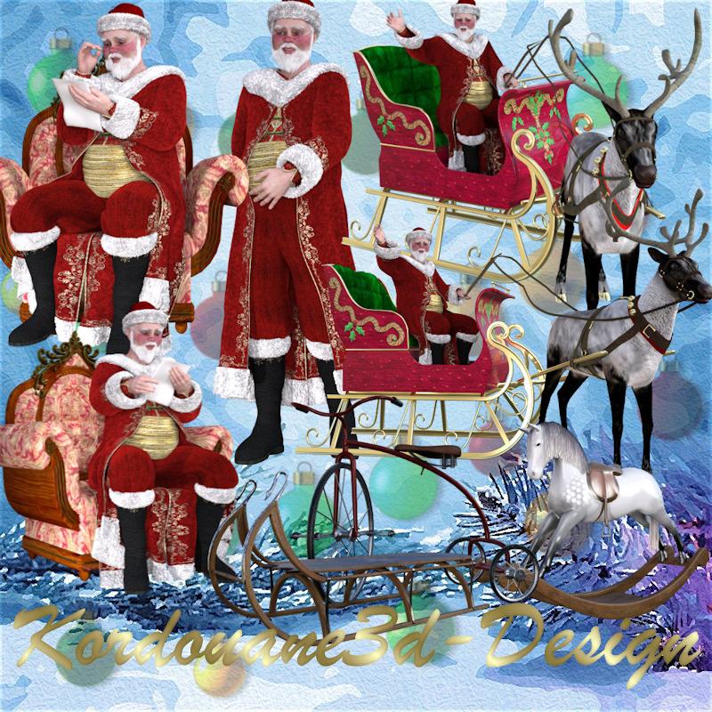 Père Noël vintage avec traîneau