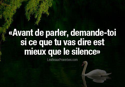Avant de parler, demande-toi si ce que tu vas dire est mieux que le silence  *** Прежде чем … | Citation pensée, Citation hypocrisie, Belles citations  inspirantes