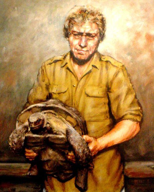 Portrait d'un homme avec une tortue