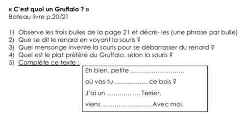 Compréhension CE1 «C'est quoi un gruffalo?»