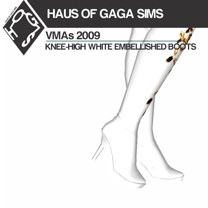 MTV VMAs 2009 KNEE-HIGH WHITE EMBELLISHED BOOTS