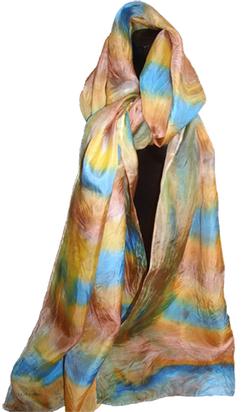 Foulard long en soie, jaune, bleu et marron