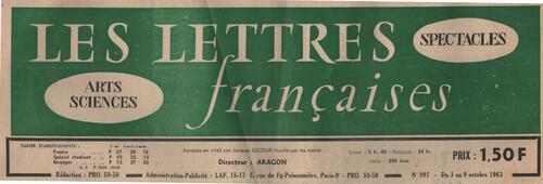 Sémnaire ERITA -ITEM du 15 juin 2019: Les Lettres françaises