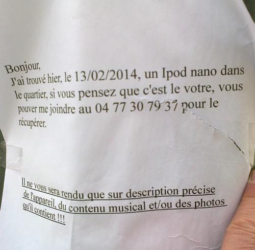 Qui a perdu son Ipod nano à Woluwe-Saint-Lambert ?