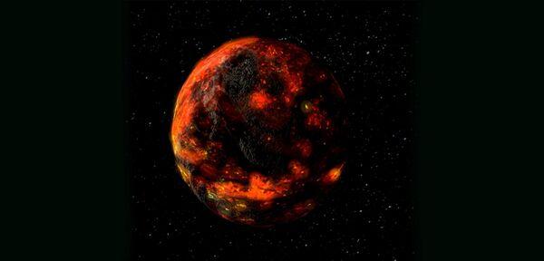Une impression d'artiste de l'océan de magma lunaire quelque temps après la formation de notre satellite. La durée de vie de cet océan de magma correspond à la période durant laquelle des astéroïdes riches en eau ont pu délivrer de l'eau à l'intérieur de la Lune. © Insu, CNRS, Nasa/GSFC