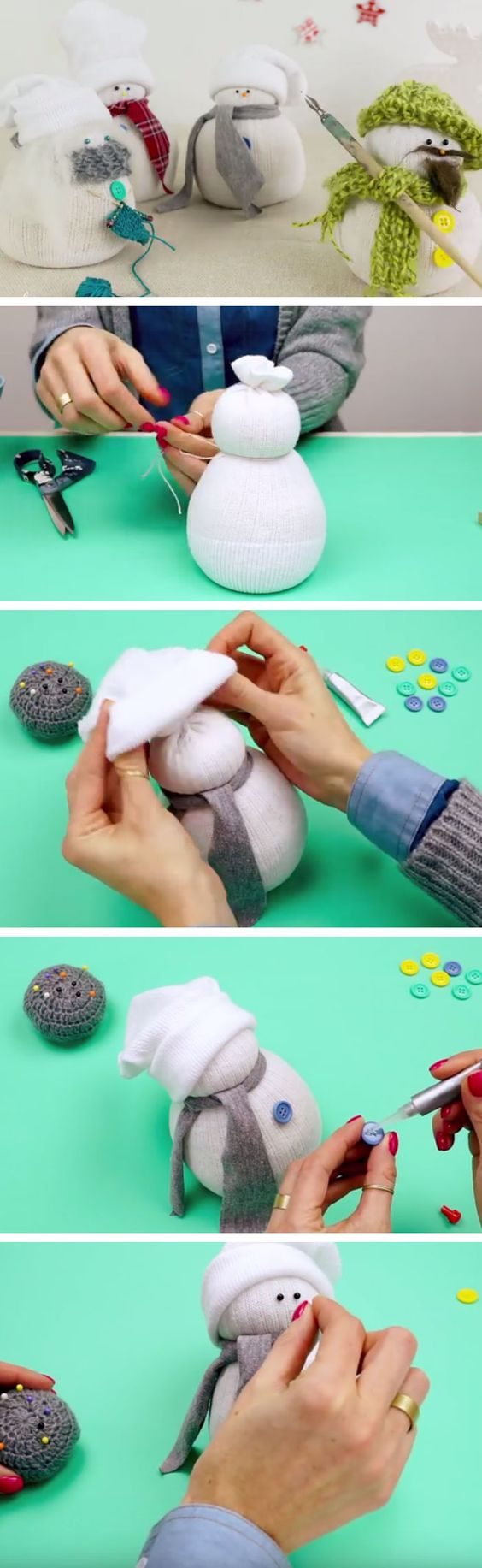 Sock Snowman | Click Pic for 22 DIY Christmas Gifts for Kids to Make | Handmade Christmas Gifts for Boys: