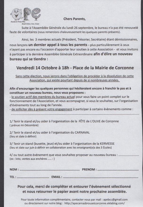 AG Extraordinaire Vendredi 14 Octobre 2016 - 18h - Place de la Mairie Corconne